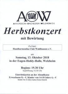 Konzert des Akkordeon-Orchesters Welzheim - Mitwirkung unseres Orchesters @ Eugen-Hohly-Halle